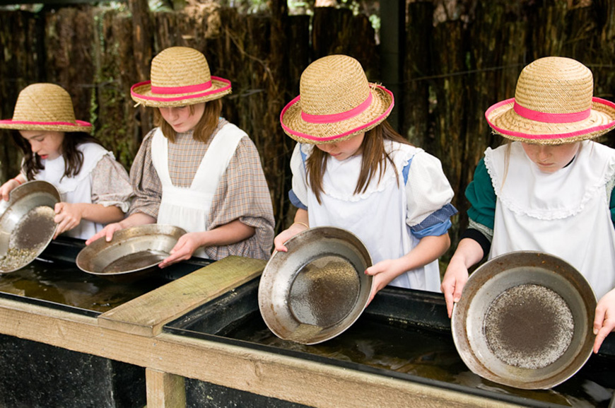Gold panning in Shantytown.